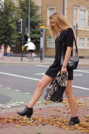 black asos boots - black basic black asos dress - black messenger Yes For bag