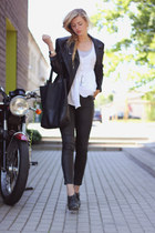 black leather Urban Classics jacket - black leather look Zara jeans