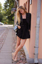 black summer dress Zara dress - black leather jacket Urban Classics jacket
