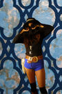 Black-vintage-blouse-blue-american-apparel-shorts-brown-vintage-belt-black