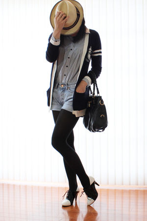 blue preppy ingni cardigan - black sugarplumshoes shoes - denim H&amp;M shorts