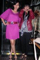 purple Mango dress - red belt - black shoes