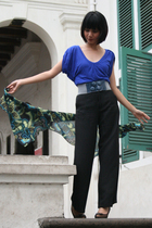 blue Forever 21 top - black Zara pants - green scarf