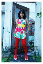 cut-and-paste dress - red stockings - yellow belt