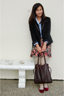 Black-blazer-blue-jcrew-shirt-pink-skirt-red-shoes-beige-tights