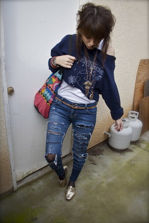 navy cut-up BDG jeans - navy Global Enterprises sweater - coral beach bag - brow
