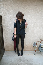 black Express shirt - black snakeskin Claires tights