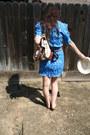 Sky-blue-diy-floral-neighborhood-thrift-dress-eggshell-fedora-target-hat-bei