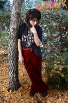 brick red velvet flare vintage pants - black studded Forever 21 boots