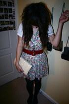 off white bag - black Target tights - Goodwill dress - burnt orange Yoshi NOW be