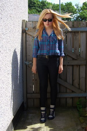 black jeggings Topshop jeans - blue flannel Topshop shirt