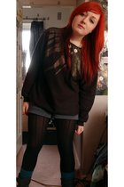 black Topshop sweater - blue Primark shorts - black Topshop tights - blue FF soc