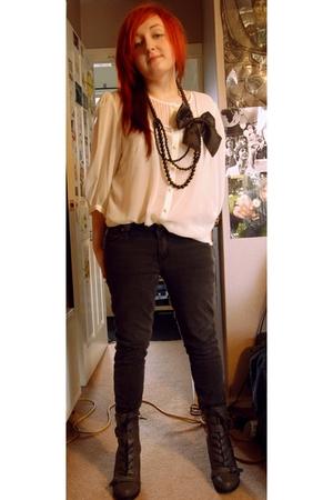 white Primark blouse - gray Topshop jeans - black vintage necklace - black H&M a