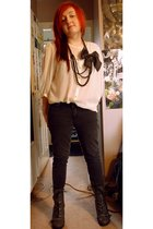 white Primark blouse - gray Topshop jeans - black vintage necklace - black H&M a