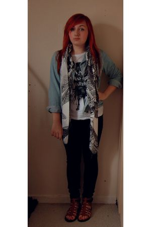 blue Primark jacket - blue Miss Selfridge jeans - white H&M scarf - brown new lo