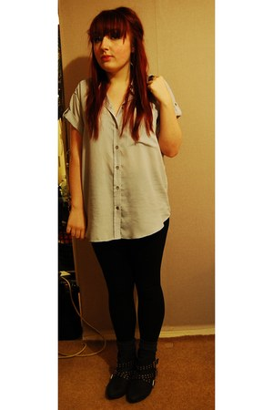 black bank boots - black George leggings - heather gray Topshop shirt - cream Pr