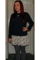navy Topshop sweater - ivory Primark dress - heather gray tesco tights