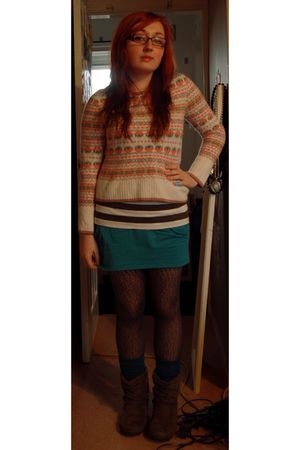 orange vintage sweater - white new look t-shirt - blue Urban Outfitters skirt -