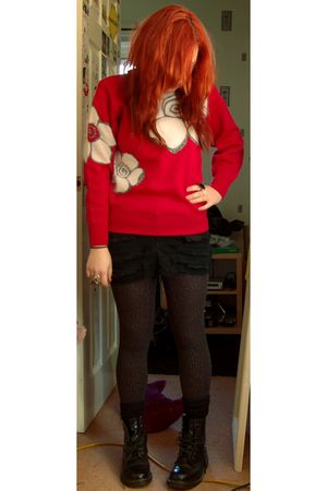 red Glamour Girl sweater - black I made it skirt - silver Primark tights - black