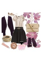 black cardigan - black skirt - ivory blouse - deep purple boots - beige bag