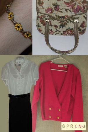vintage cardigan - vintage dress - vintage purse - yellow vintage bracelet