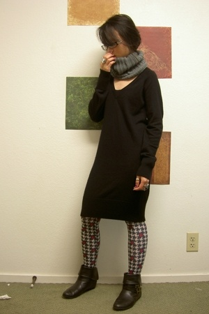 French Connection dress - stockings - accessories - boots