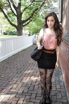 black H&M skirt - pink Express top - brown thrifted belt - black tights - black