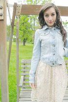 blue jacket - beige Forever 21 dress - beige boots