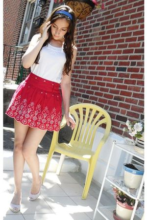white lacy Aeropostale top - red embroidered rachel & chloe skirt