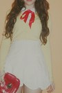 Red-bag-white-peter-pan-blouse-light-yellow-soft-jamie-scott-cardigan-red-