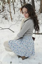 heather gray sweater - white shirt - periwinkle skirt - camel boots - ivory stoc