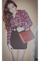 brick red American Eagle shirt - tawny thrifted bag - black Charlotte Russe skir