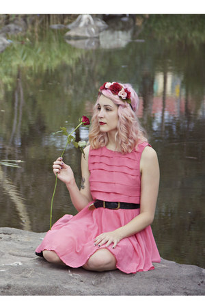 coral Living Doll dress - pink floral DIY hat - black thrifted belt
