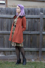 Olive-green-vintage-dress-burnt-orange-princess-highway-coat