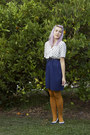 Navy-thrifted-dress-mustard-tights-black-supre-belt-navy-vintage-pumps