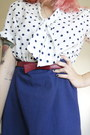 Blue-vintage-dress-ruby-red-thrifted-bag-ruby-red-t-bar-golden-ponies-heels