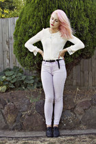 cream lace collar vintage shirt - periwinkle Target jeans - black supre belt
