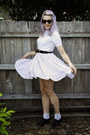 White-dangerfield-dress-white-thrifted-sweater-white-socks