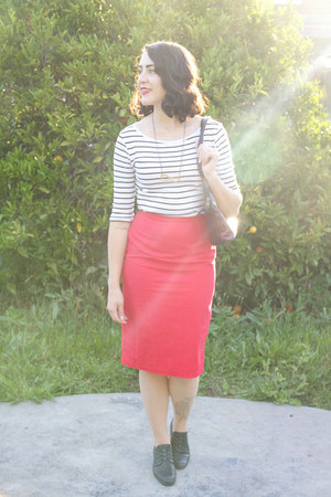 black vintage shoes - red DIY skirt - white striped Kmart top
