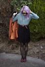 Carrot-orange-princess-highway-coat-turquoise-blue-asos-shirt
