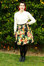 Cream-thrifted-sweater-black-fruit-print-diy-skirt