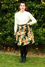 Cream-thrifted-sweater-black-fruit-print-diy-skirt