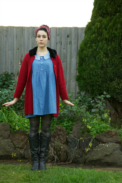 red thrifted scarf - black Rubi shoes boots - sky blue fancy treehouse dress