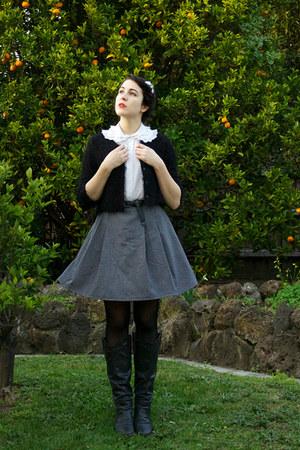 thrifted shirt - Rubi shoes boots - supre belt - thrifted skirt