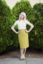 mustard thrifted skirt - white knitted thrifted t-shirt