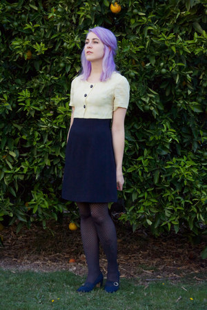 navy yellow floral vintage dress - heather gray stockings - navy thrifted heels