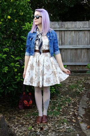 navy thrifted scarf - eggshell fan print DIY dress - blue thrifted jacket