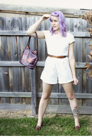 crimson cat thrifted bag - brown thrifted belt - ivory vintage romper