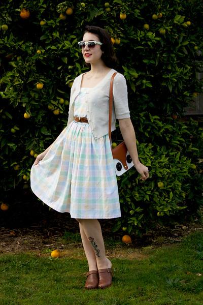 white pastel plaid made myself dress - white Miss Shop cardigan
