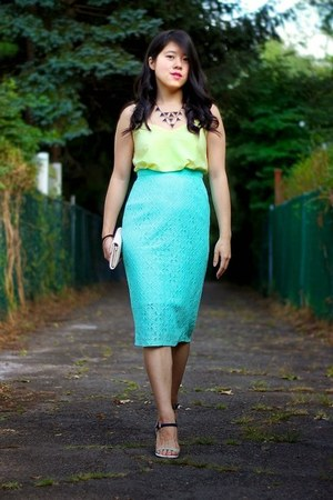 aquamarine asos skirt - light yellow asos top